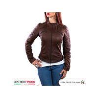 Leather Trend Italy monica - giacca donna in vera pelle colore marrone invecchiato