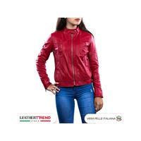 Leather Trend Italy vale - giacca donna in vera pelle colore rosso morbida