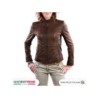 Leather Trend Italy violetta bis - giacca donna in vera pelle colore marrone morbido
