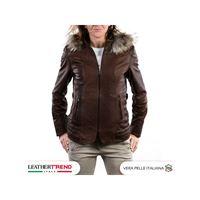 Leather Trend Italy t100 - giacca donna con cappuccio in vera pelle colore testa di moro