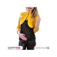 Leather Trend Italy boler - giacca donna in vera pelle traforata colore giallo morbida