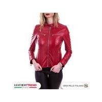 Leather Trend Italy vanessa - giacca donna in vera pelle colore rosso morbida