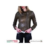 Leather Trend Italy chiodo martina - giacca donna in vera pelle colore verde oil vintage