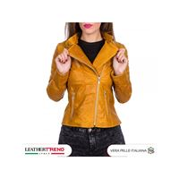 Leather Trend Italy 020 - giacca donna in vera pelle colore giallo oil vintage