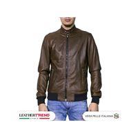 Leather Trend Italy bomber napoli - giacca uomo in vera pelle colore testa di moro