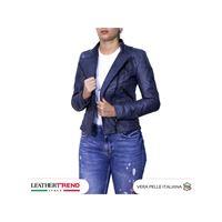 Leather Trend Italy raff - giacca donna in vera pelle colore blu invecchiato