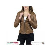 Leather Trend Italy zara - giacca donna in vera pelle colore cuoio invecchiato