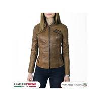Leather Trend Italy michelina - giacca donna in vera pelle colore cuoio invecchiato