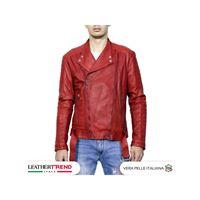Leather Trend Italy chiodo lino - giacca uomo in vera pelle colore rosso morbido