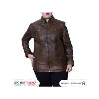 Leather Trend Italy crystal - giacca donna in vera pelle colore marrone invecchiato