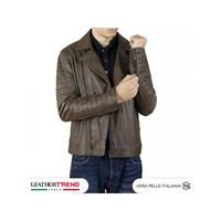 Leather Trend Italy v248 - giacca uomo in vera pelle colore marrone invecchiato