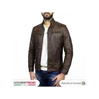 Leather Trend Italy attila - giacca in pelle uomo colore testa di moro oil vintage