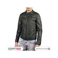 Leather Trend Italy u06 - giacca uomo in vera pelle colore verde invecchiato
