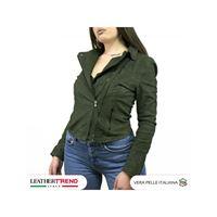 Leather Trend Italy chiodo martina - giacca donna in vera pelle colore verde antichizzato