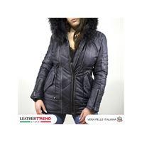 Leather Trend Italy nebraska - parka donna in vera pelle colore grigio tamponato