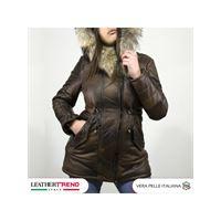 Leather Trend Italy nebraska - parka donna in vera pelle colore testa di moro invecchiato