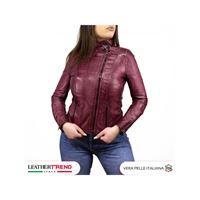 Leather Trend Italy alba - giacca donna in vera pelle colore bordeaux tamponato