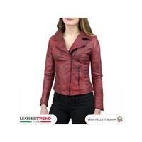 Leather Trend Italy violetta - giacca donna in vera pelle colore rosso invecchiato