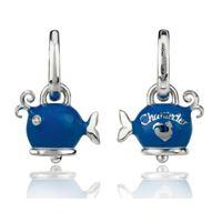 Chantecler orecchini balena micro in argento, smalto blue e diamanti bianchi