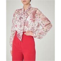 Max Mara Studio blusa in seta bianca fiori stampati rossi e fiocco sul davanti