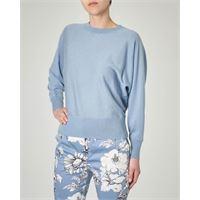 Max Mara Studio maglia girocollo azzurra in seta e cotone