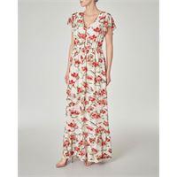Patrizia Pepe abito lungo bianco a fantasia floreale rossa con balze sul fondo