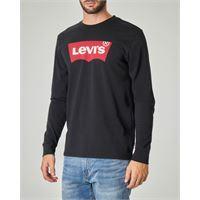 Levi's t-shirt nera manica lunga con logo batwing
