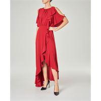 Marella abito lungo rosso in crêpe de chine con fondo asimmetrico con volant