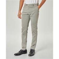 Ashki.i pantalone chino grigio chiaro in drill di cotone