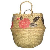 Borsa-cesta a mano marinella noris in rafia con fiori ricamati a mano rosa scuro e marroni