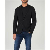 Armani Exchange blazer nero a due bottoni in jersey di viscosa stretch