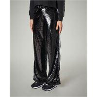 Pyrex pantaloni neri in paillettes con logo