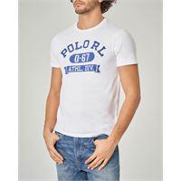 Polo Ralph Lauren t-shirt bianca con scritte polo rl blu