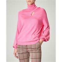 Pinko dolcevita rosa in viscosa misto cachemere con cut-out sul davanti e maniche a palloncino