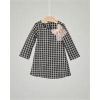 Liu Jo abito nero in jersey con quadri bianchi e fiocco rosa 9-18 mesi