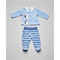 Mayoral completo maglia azzurra con cagnolino ricamato e ghettina a righe abbinata 1-4