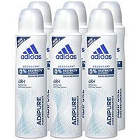adidas adipure deo body spray da donna, confezione da 6 (6 x 150 ml)