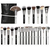 DUcare set pennelli make up professionali da 31 pezzi con borsa kit di pennelli per occhi sintetici di alta qualità (nero bianco)