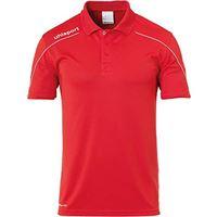 uhlsport stream 22 - polo da bambino, bambini, t-shirt, 100220404, rosso/bianco, 164