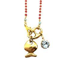 Collana lunga maida monili rosario rosso con cristalli, ciondolo pesce e cristallo-ciondolo azzurro