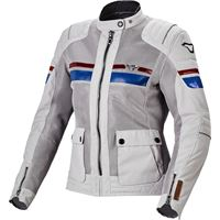 Macna giacca moto donna estiva Macna fluent grigio chiaro blu rosso