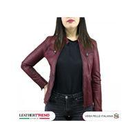 Leather Trend Italy vanessa - giacca donna in vera pelle colore bordeaux invecchiato