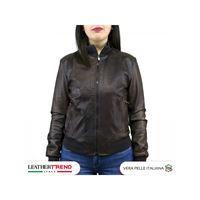 Leather Trend Italy f06-bomber donna - giacca in vera pelle colore testa di moro