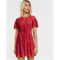 Whistles - vestito corto rosso a strati con stampa henné