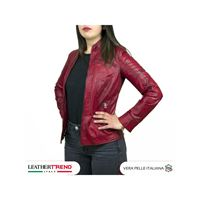 Leather Trend Italy c66 - giacca donna in vera pelle colore bordeaux tamponato