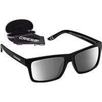 Cressi bahia floating, occhiali galleggianti sportivi da sole polarizzati con protezione uv 100% unisex adulto, nero/lente specchiata