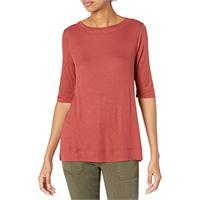 Daily Ritual rib knit jersey elbow-sleeve boat neck shirt shirts, caramel, us (eu xs-s)