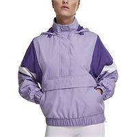 Urban Classics ladies light 3-tone pull over jacket giacca, nero (black/ultraviolet/white 01552), m donna