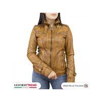 Leather Trend Italy v173 - giacca donna in vera pelle colore cuoio tamponato