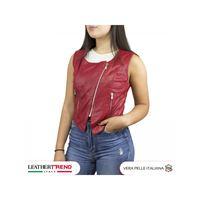 Leather Trend Italy gilet elena - giacca donna in vera pelle traforata colore rosso